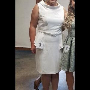 Sharagano Dress Size 12 includes belt white